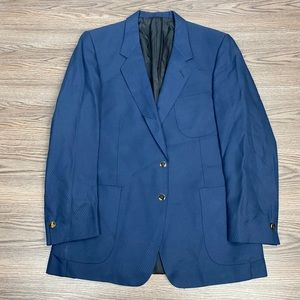 Parktown Navy Blue Pure Silk Blazer 44L Long